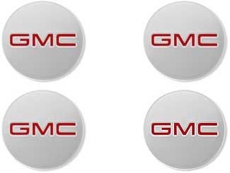 Center Caps - Red GMC Logo, Polished Acadia Envoy- 4pcs
