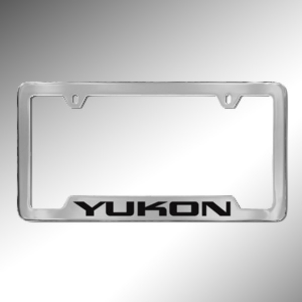 2015 Yukon XL License Plate Holder, Chrome with Black Yukon Logo