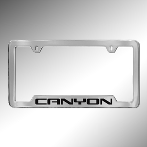 2017 Canyon License Plate Holder, Chrome with Black Canyon Logo