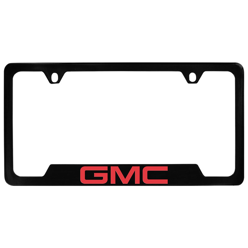 2017 Yukon License Plate Frame, Black with Red GMC Logo
