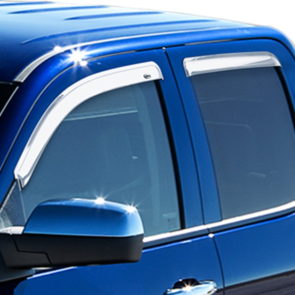 2016 Sierra 2500 Side Window Deflectors, Double Cab, Chrome