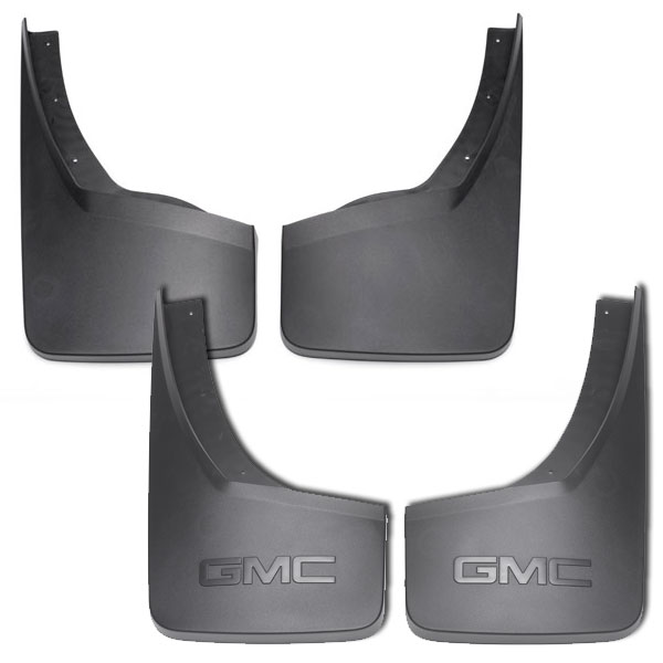 2015 Sierra 1500 Splash Guards, Molded Front and Rear, Black Grained