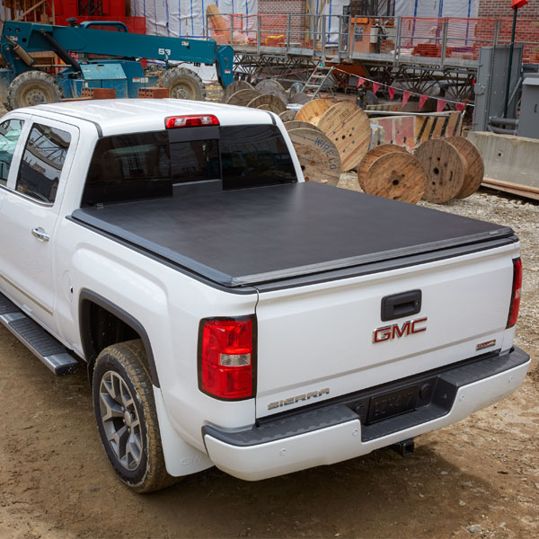 2015 Sierra 1500 Tonneau Cover, Soft Roll-Up, Vinyl, Black, 6 ft 6 in