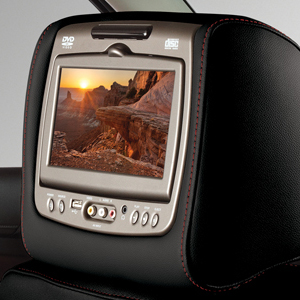 2016 Yukon Dual DVD Headrest System, Jet Black Vinyl w Red Stitc