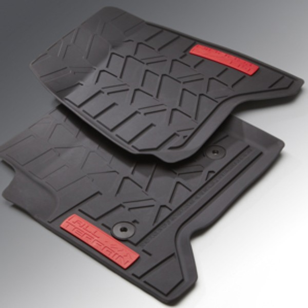 2014 Sierra 1500 Floor Mats Front Premium All Weather, Black with ALL TERRAIN Logo