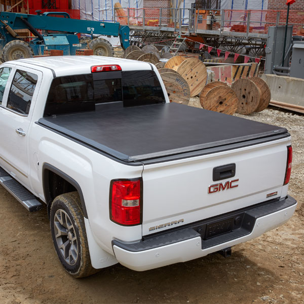 2017 Sierra 2500 Tonneau Cover, Hard Folding, Black Vinyl, 6' 6""