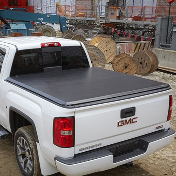 2015 Sierra 1500 Tonneau Cover Soft Folding, High Gloss Black, For Use with 5ft 8inch Short Box