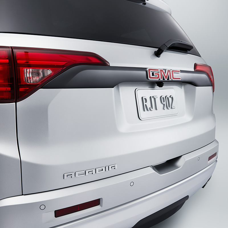 2017 Acadia Liftgate Applique, License Opening Trim in Dark Chrome
